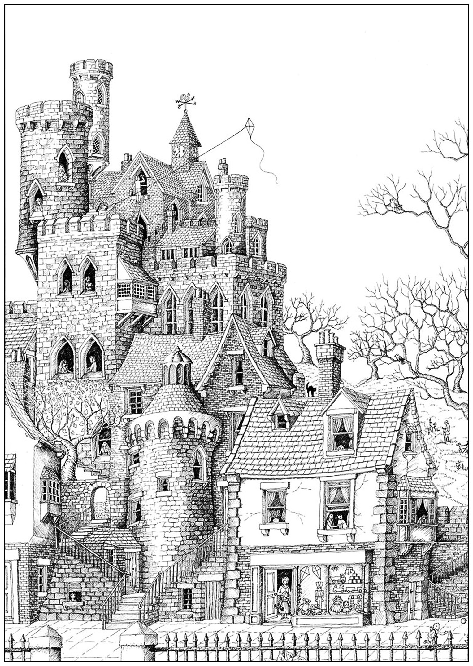 Castle In A Village Architecture And Living Coloring Pages For