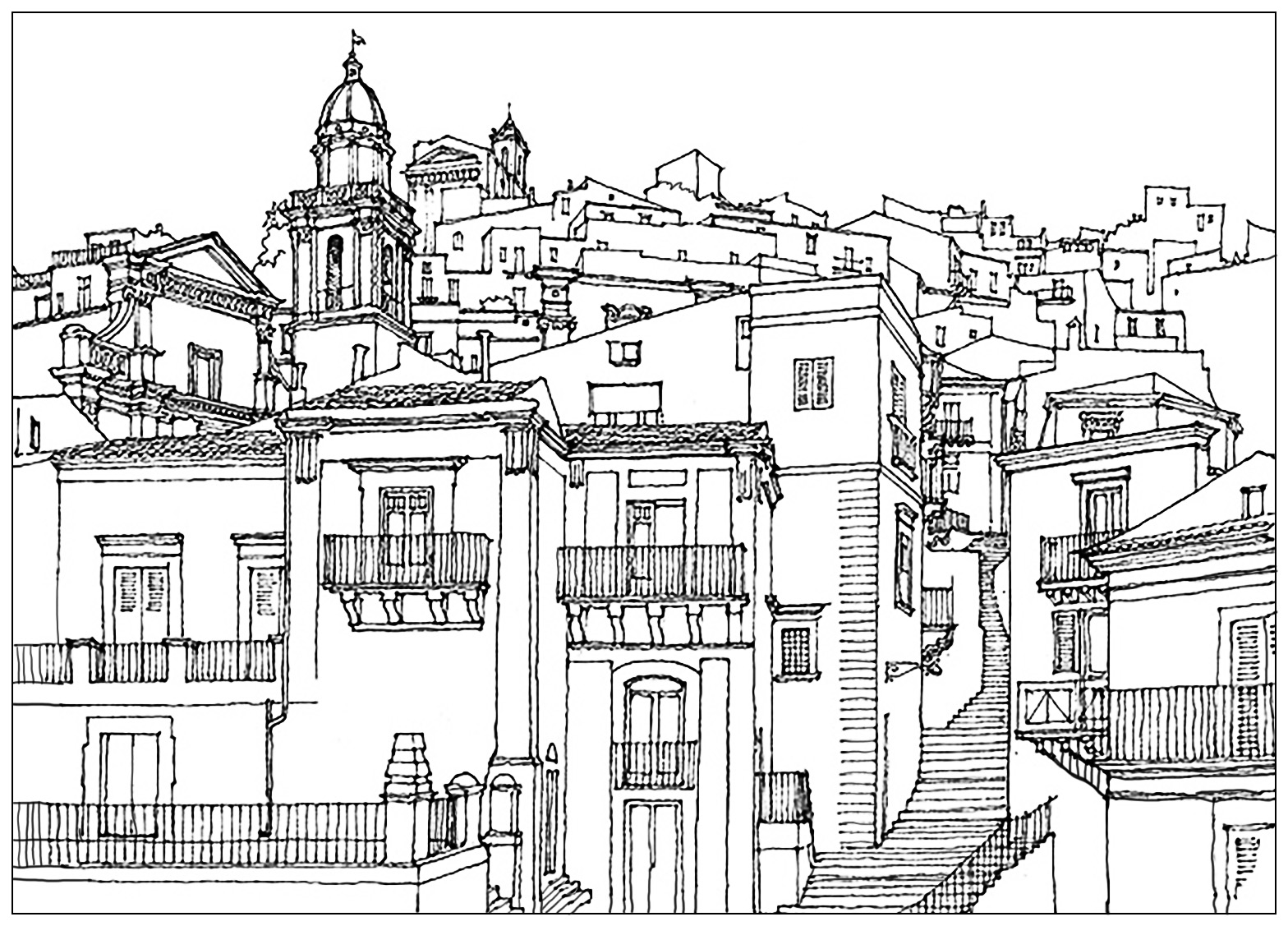 Sicilia Italia Village Architecture And Living Coloring Pages
