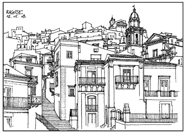 Architecture village in italy - Architecture Adult Coloring Pages