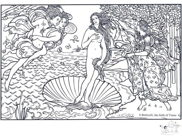 Boticelli the birth of venus - Masterpieces Adult Coloring Pages