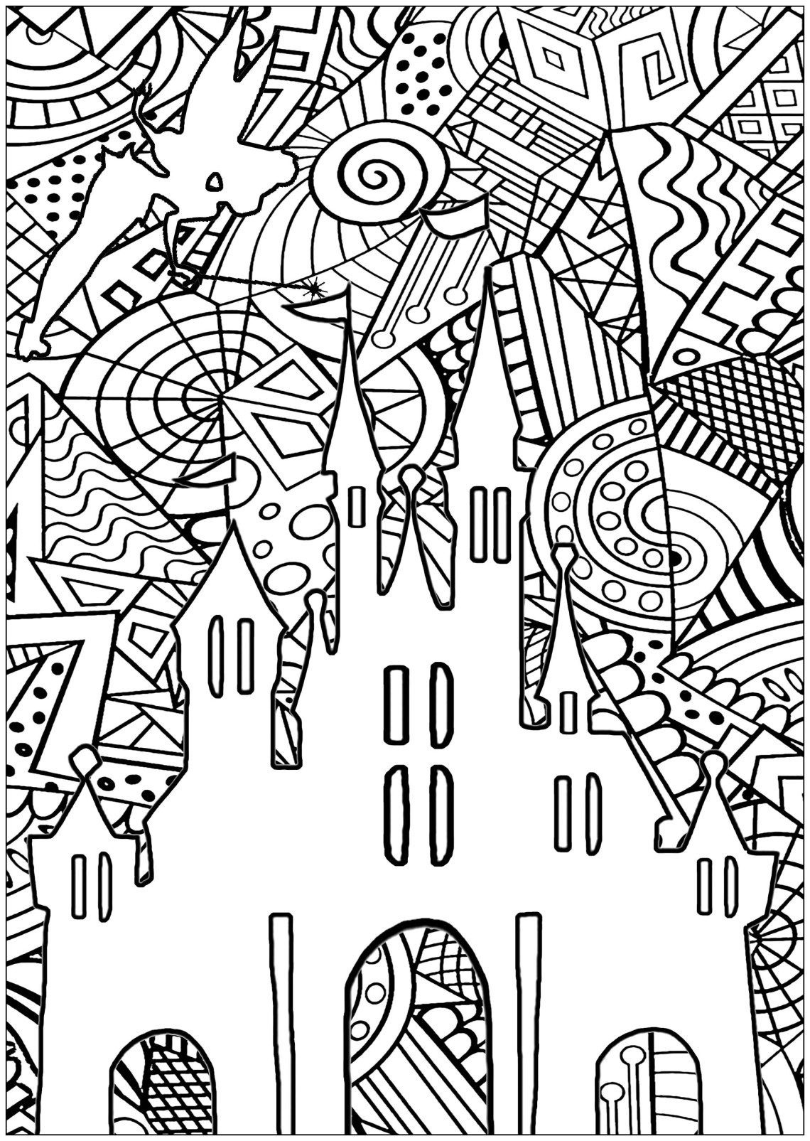 Disney castle - Return to childhood Adult Coloring Pages   colouring pages for adults disney
