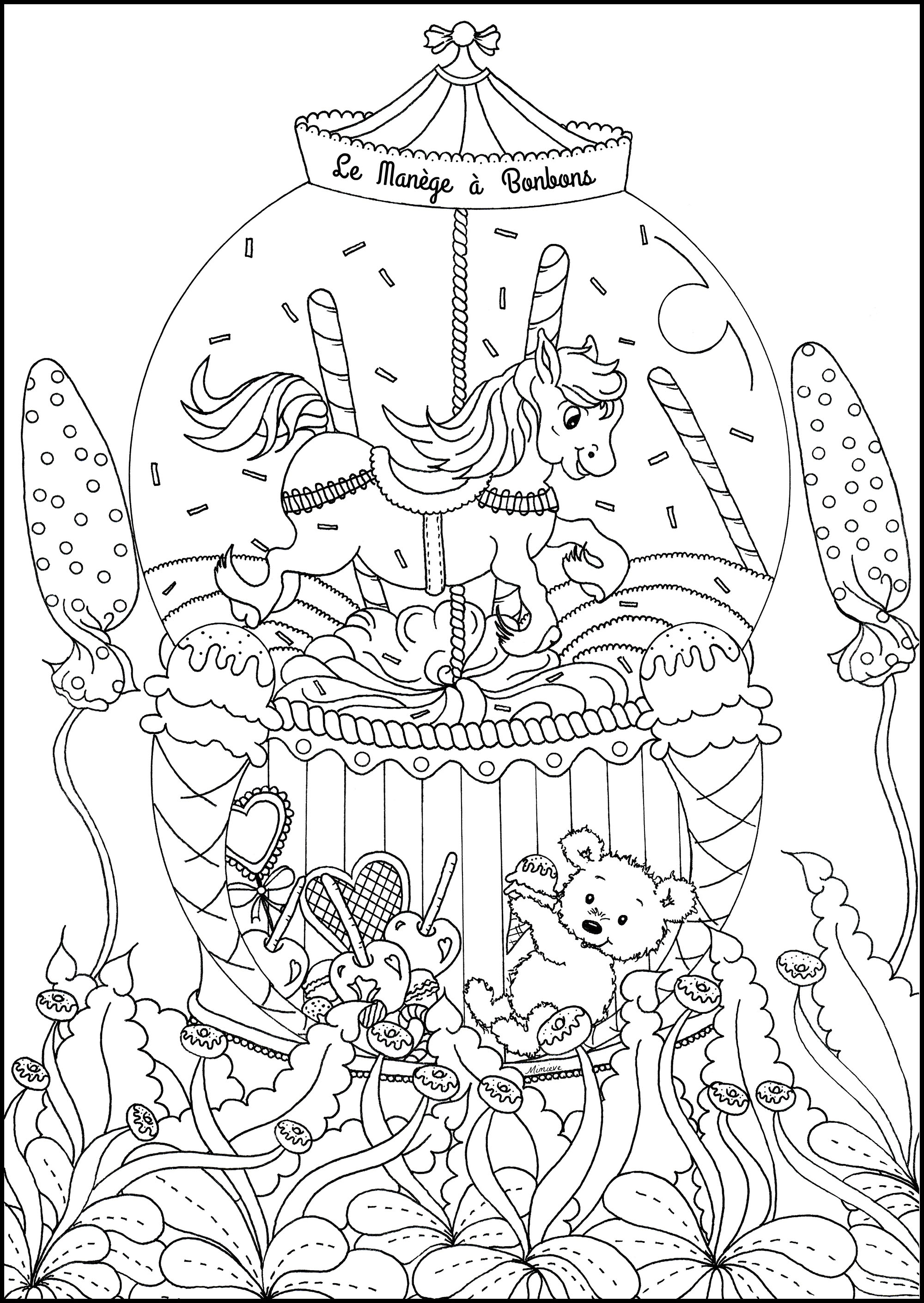 The Candy Carousel Return To Childhood Adult Coloring Pages
