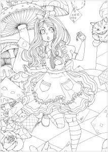 alice in wonderland coloring page # 27