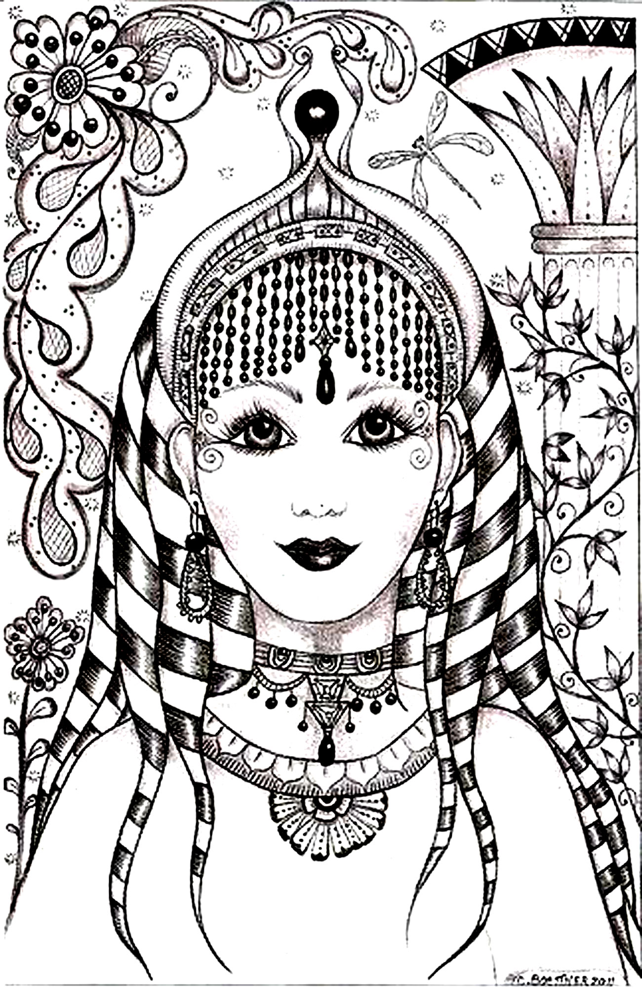 Woman Face India Inspiration India Adult Coloring Pages