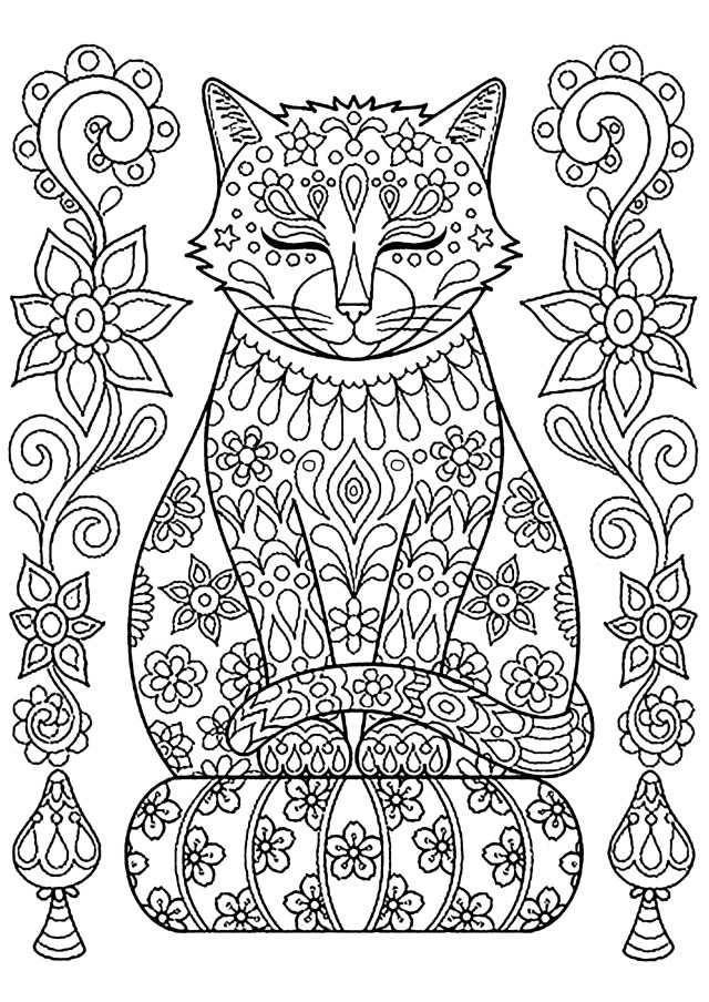 Cute cat on pillow with flowers - Cats Adult Coloring Pages
