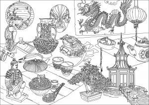 China Asia Coloring Pages For Adults