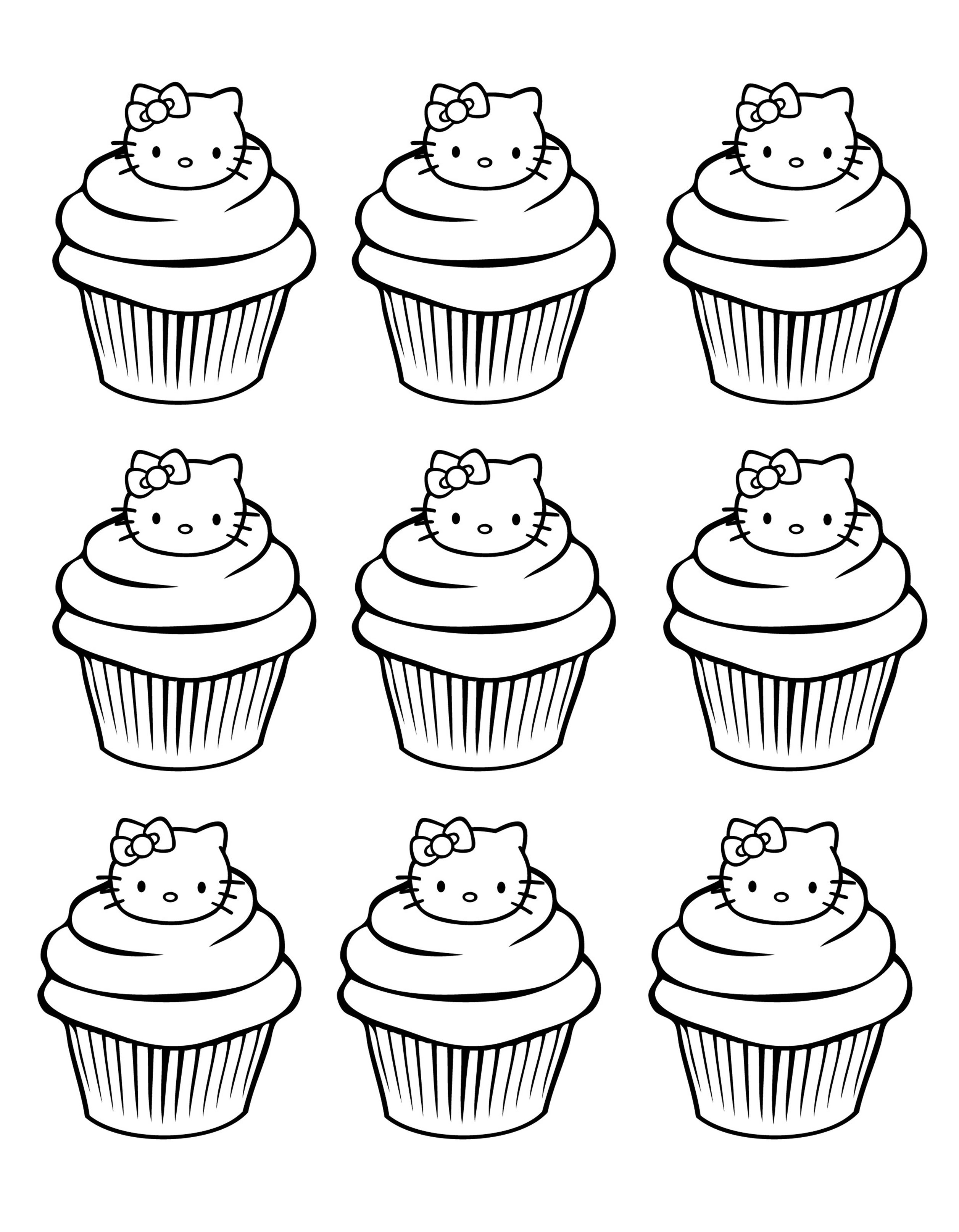 Cupcakes Hello Kitty Simple Cupcakes And Cakes Coloring Pages