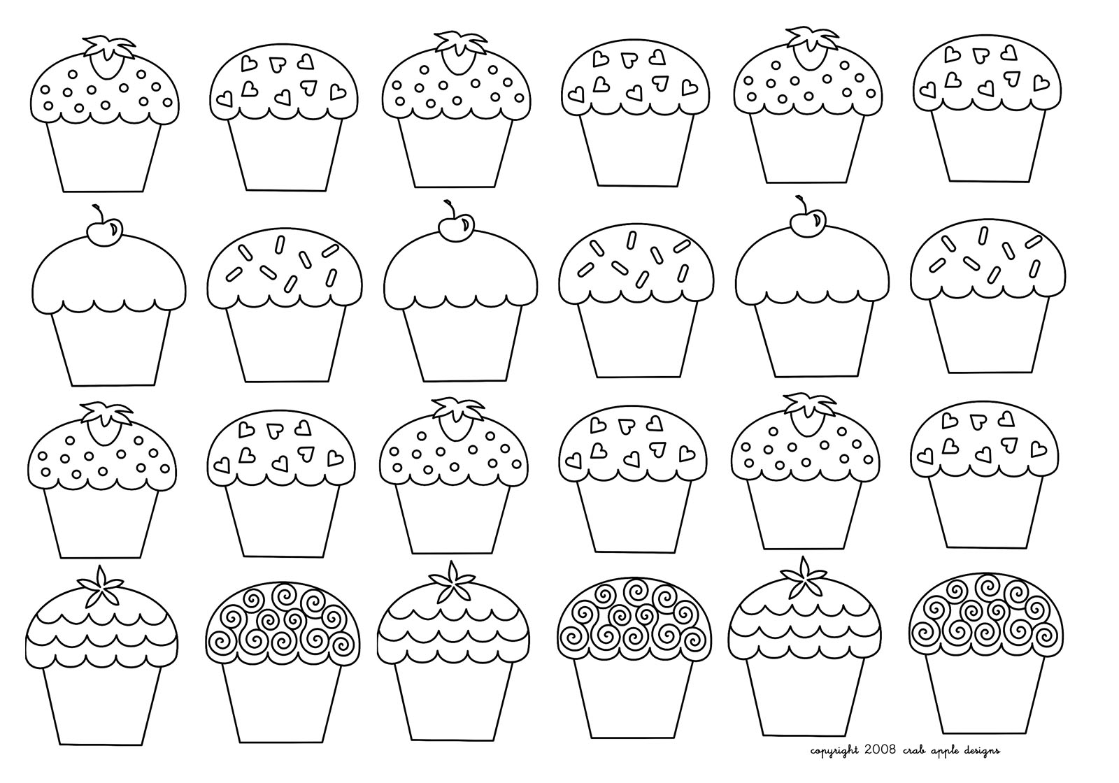Mosaique Cupcakes Enfantins Cupcakes And Cakes Coloring Pages