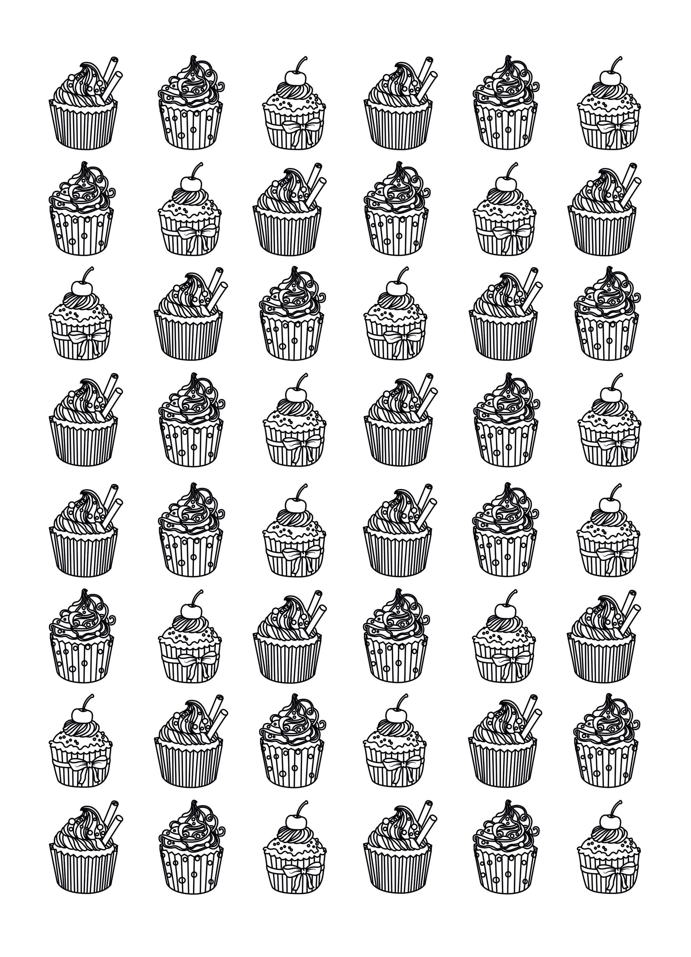 Cupcakes Hard Celine Cupcakes And Cakes Coloring Pages For