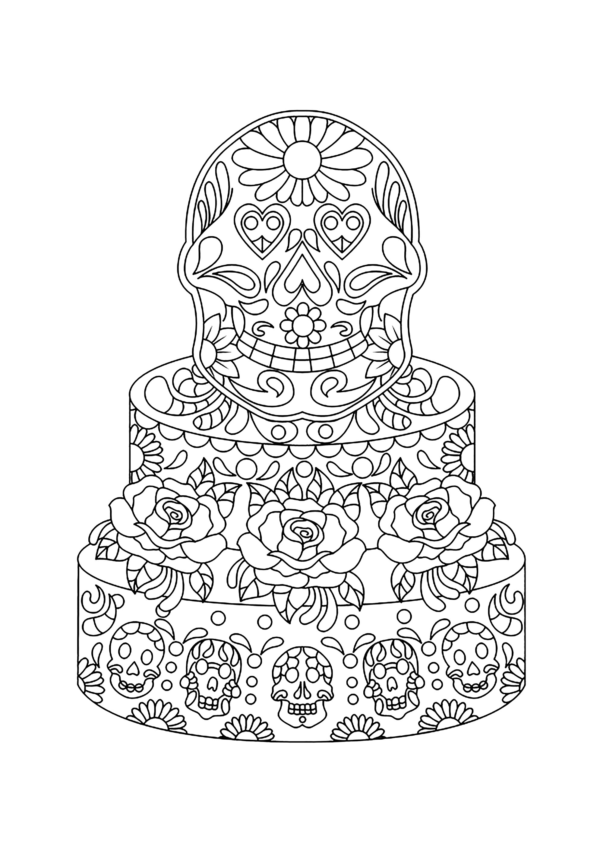 Mexican cake cupcakes adult coloring pages, coloring pages print