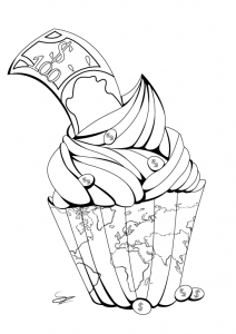 Cup Cakes Coloring Pages For Adults