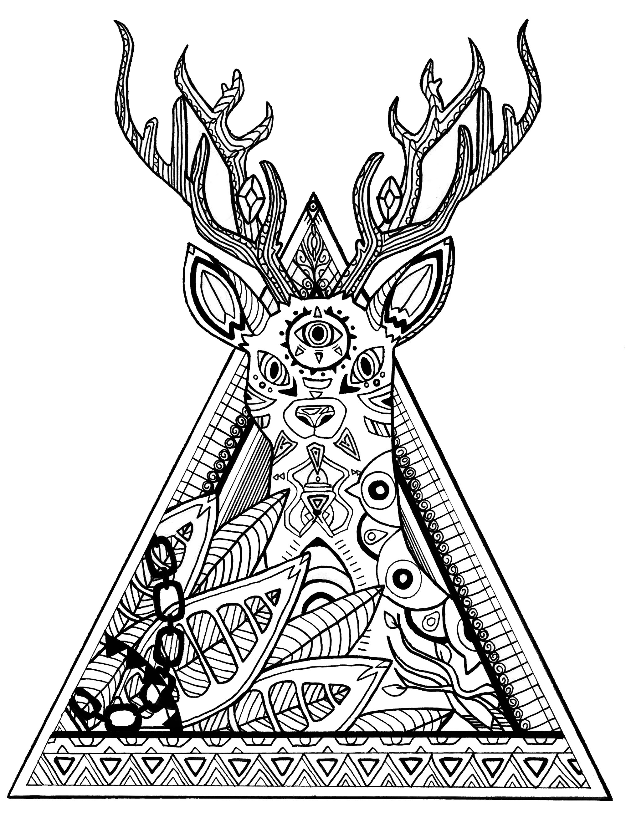 Deer In A Triangle Deers Coloring Pages For Adults Justcolor
