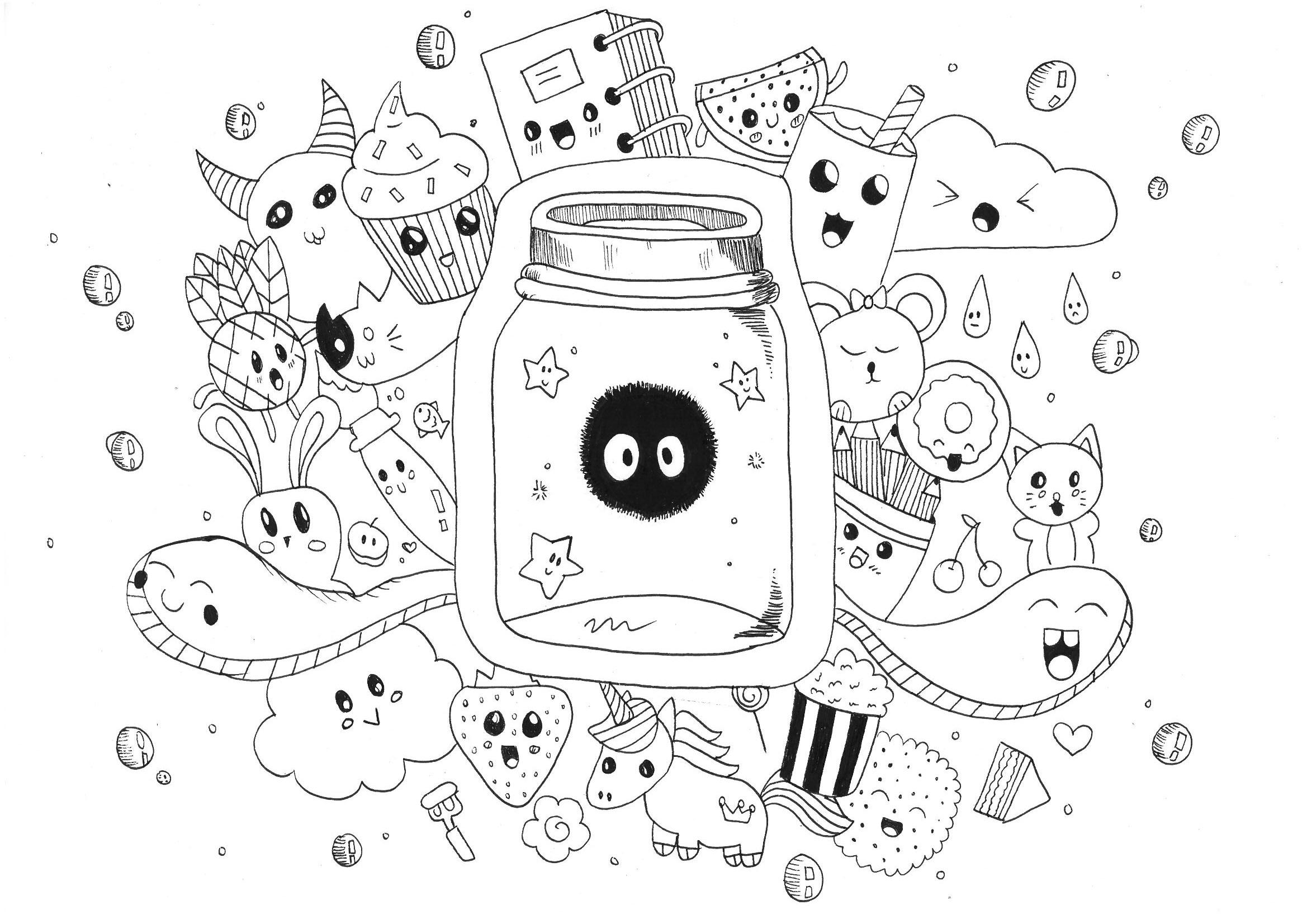 Kawaii Doodle Rachel Doodling Doodle Art Coloring Pages For