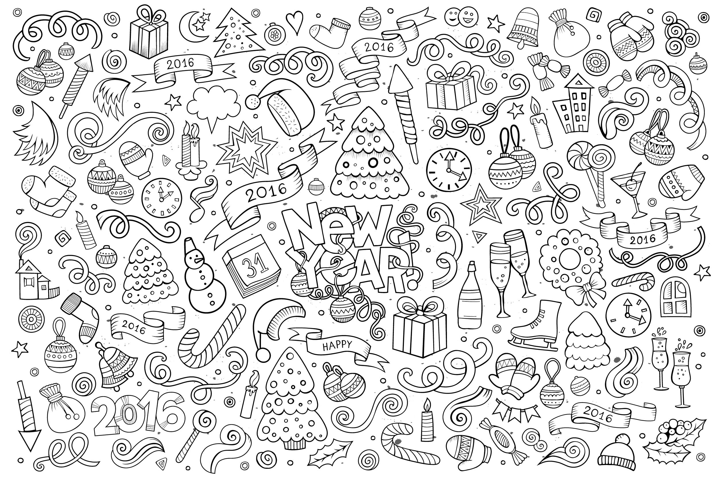 Doodle Happy New Year