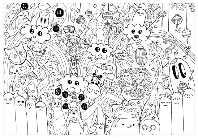 Doodle totoro for chloe - Doodle Art / Doodling Adult Coloring Pages