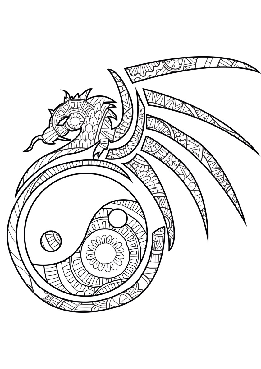 yin and yang  coloring pages for adults