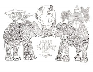 coloring pages of elephants # 63