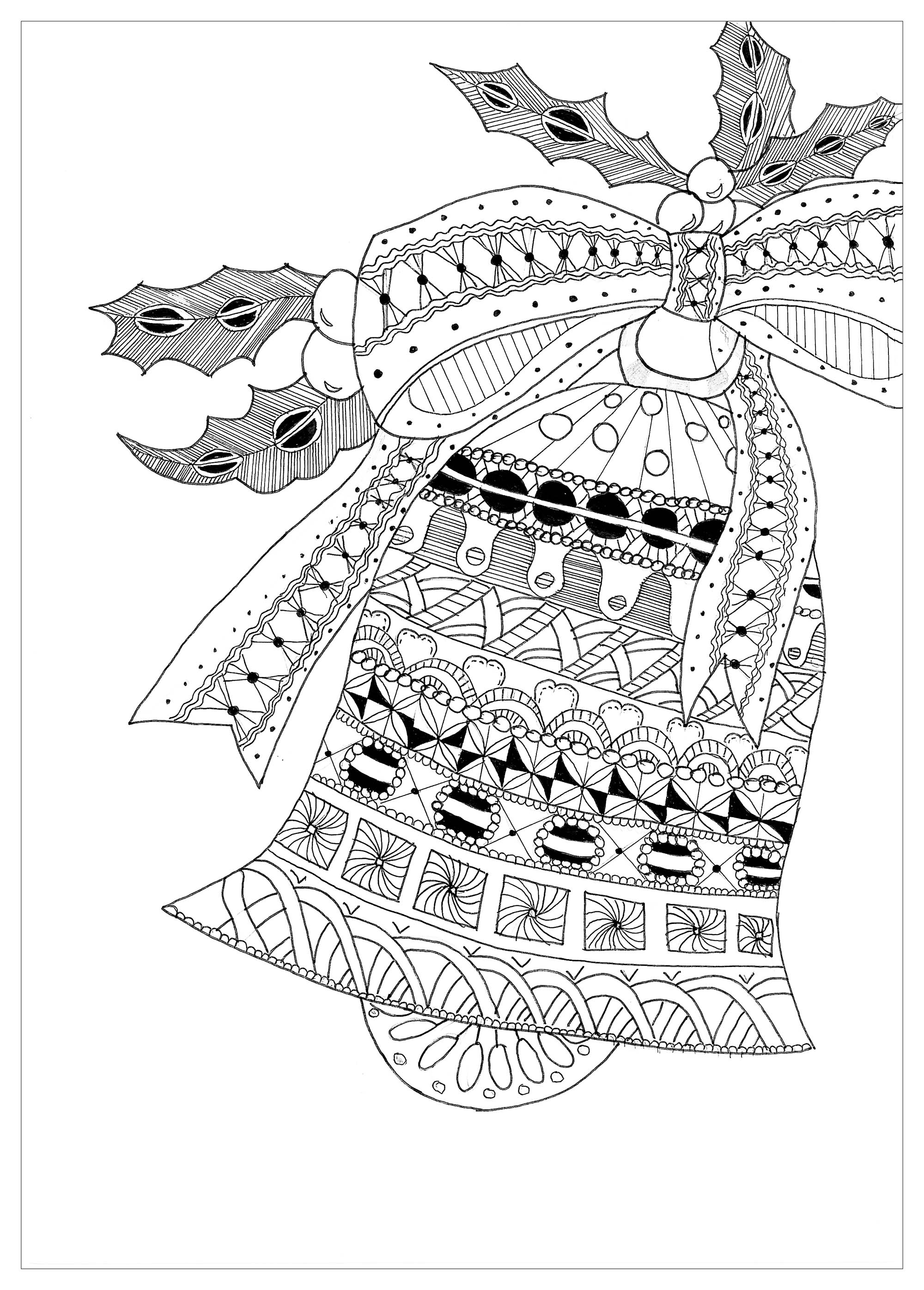 Coloring Page Zentangle Bell Christmas