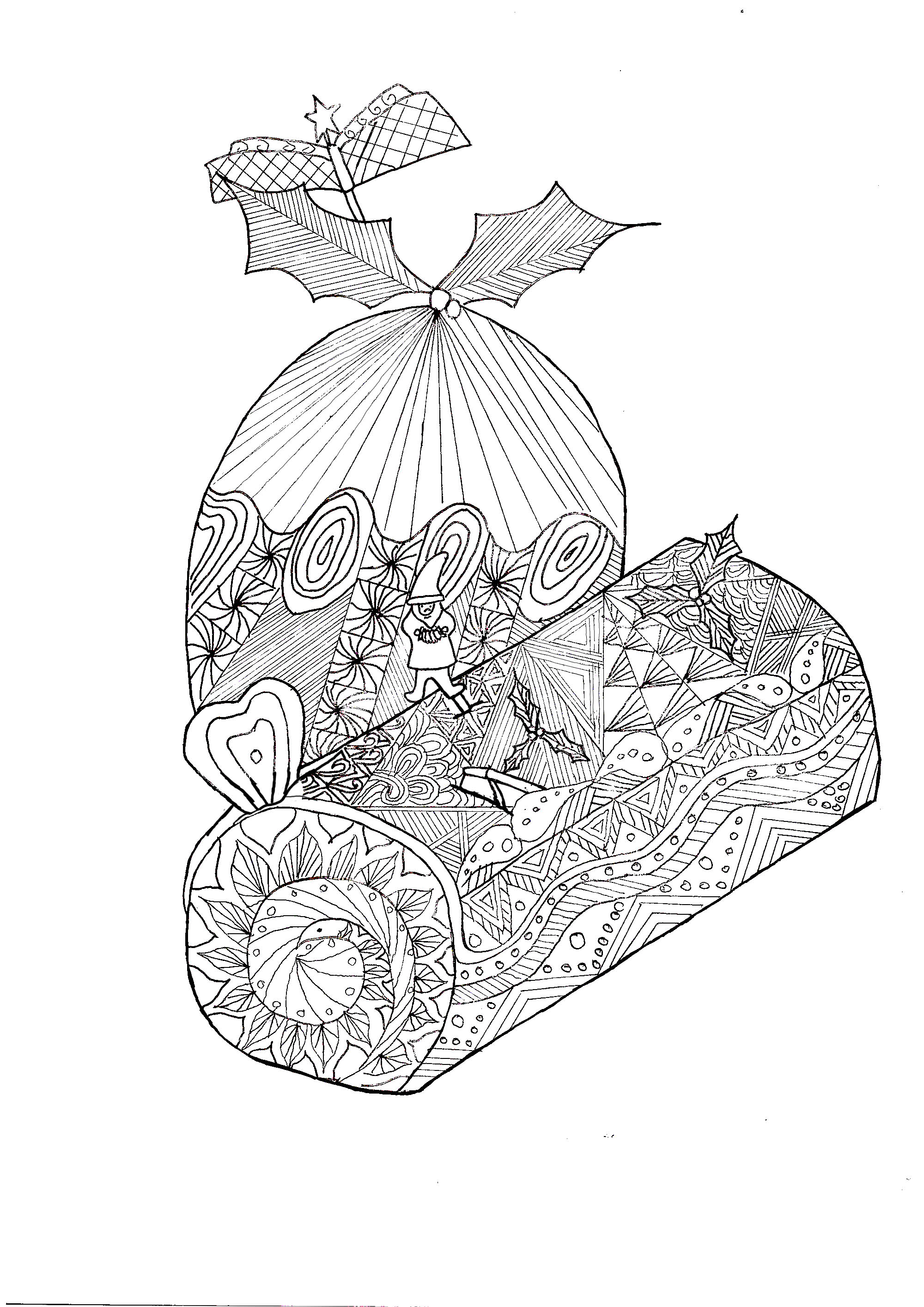 Zentangle Log Christmas Christmas Coloring Pages For Adults