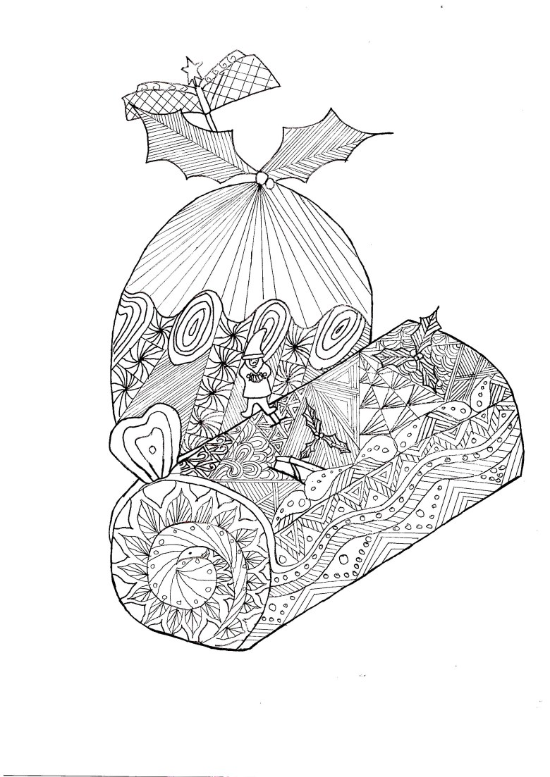 page zentangle log christmas - christmas adult coloring pages