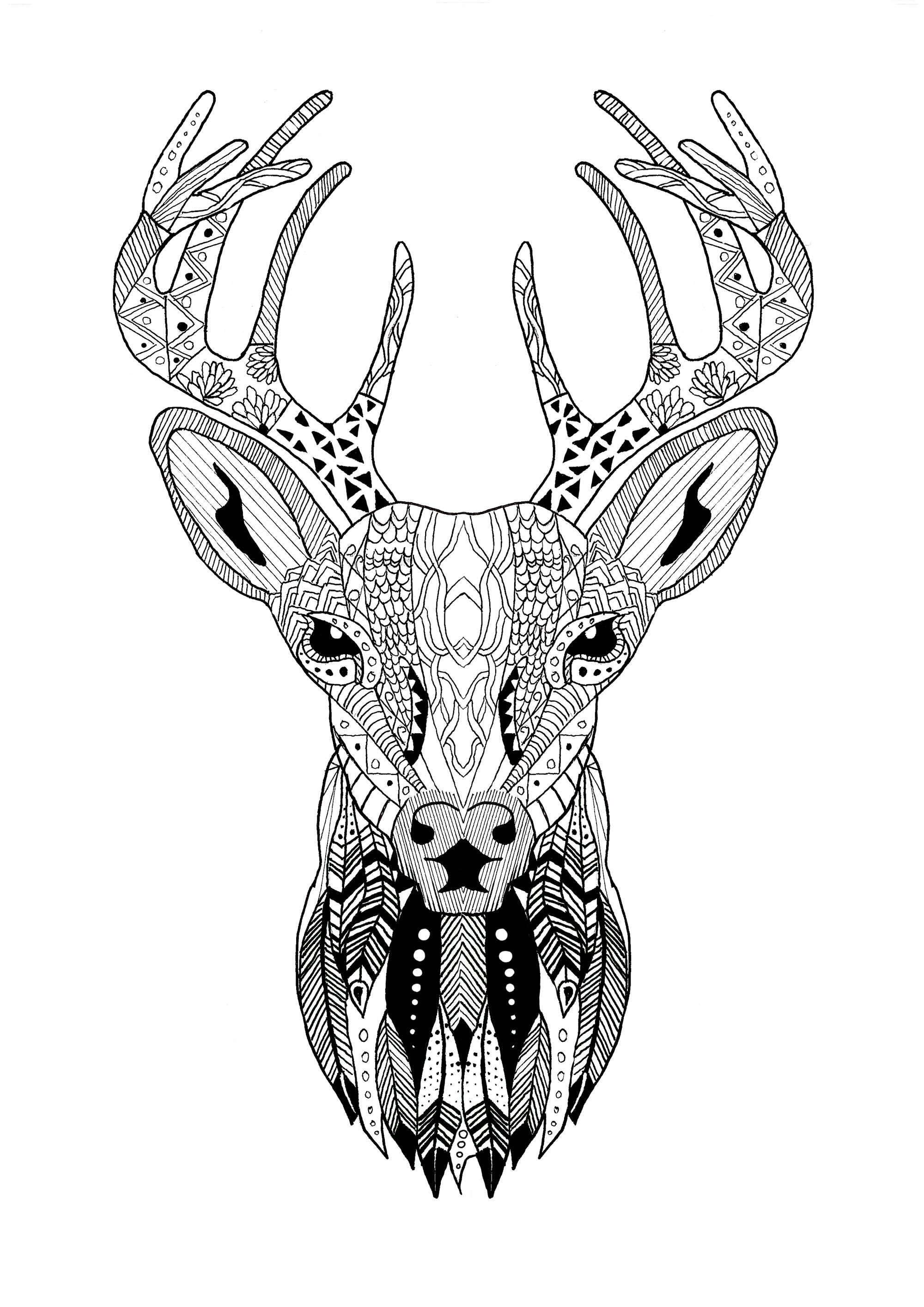 Page Zentangle Reindeer Christmas