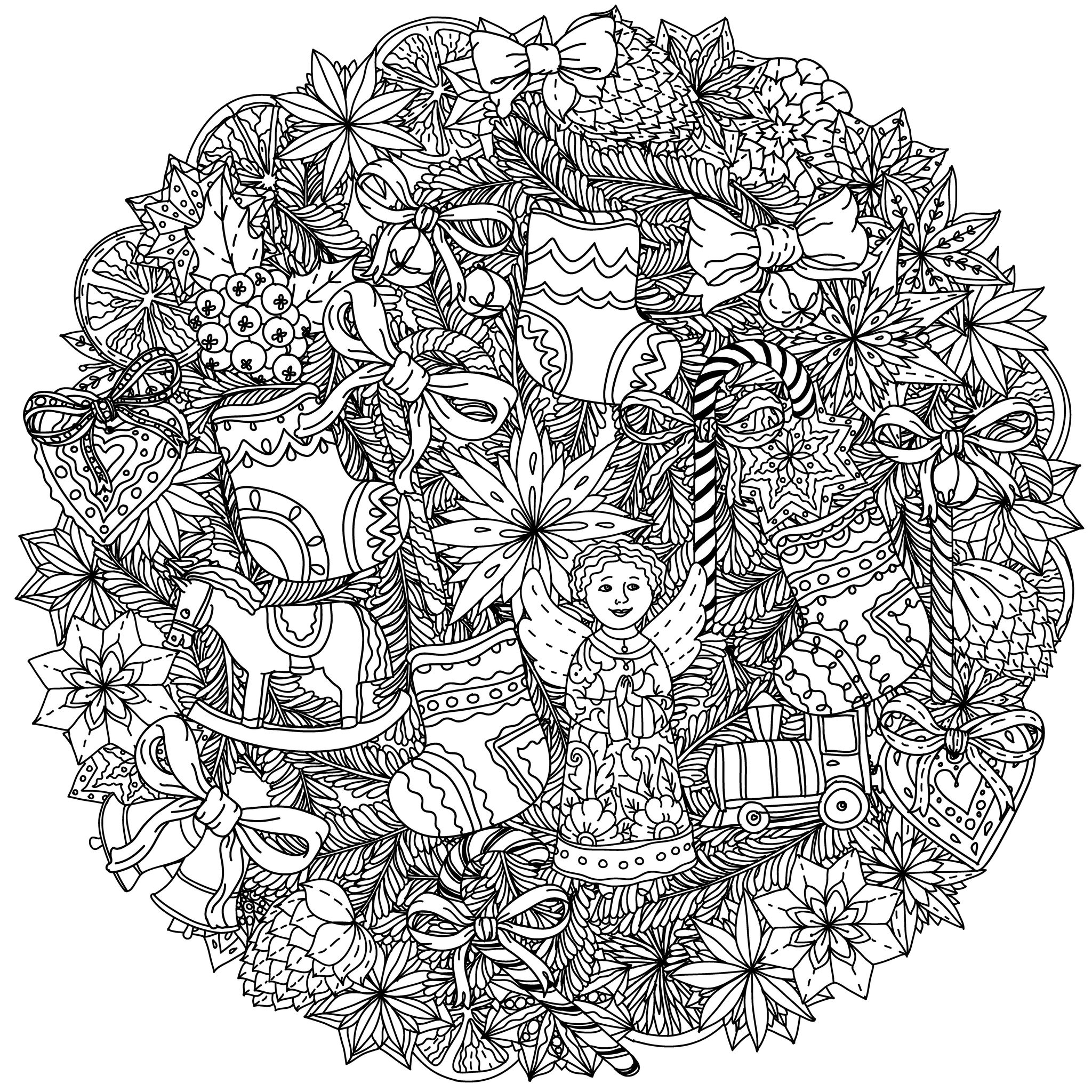 Christmas Mandala By Mashabr Christmas Coloring Pages For