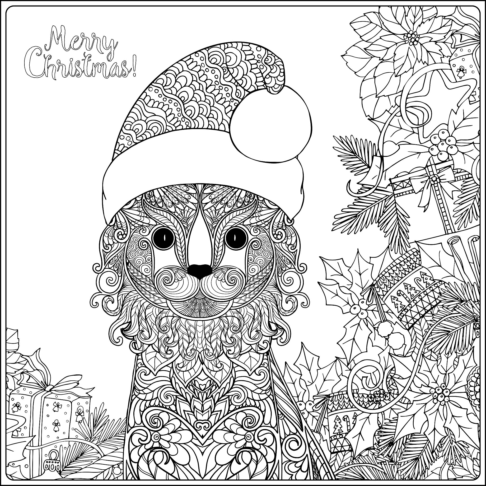 Christmas cat with gifts - Christmas Adult Coloring Pages | christmas colouring pages for adults