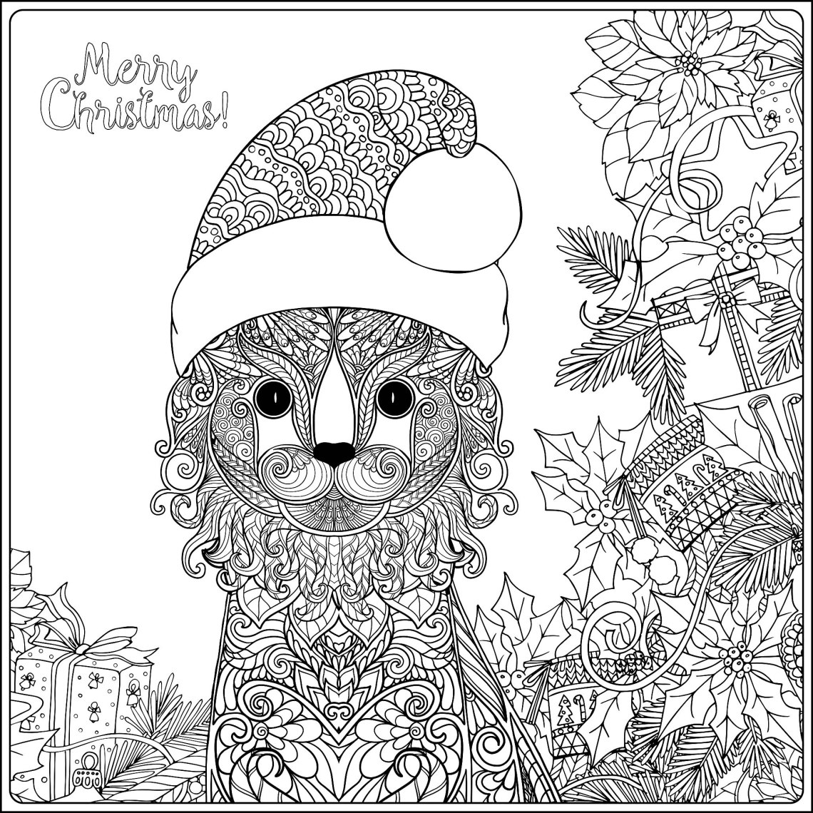 Christmas cat with gifts - Christmas Adult Coloring Pages   christmas coloring pages for adults