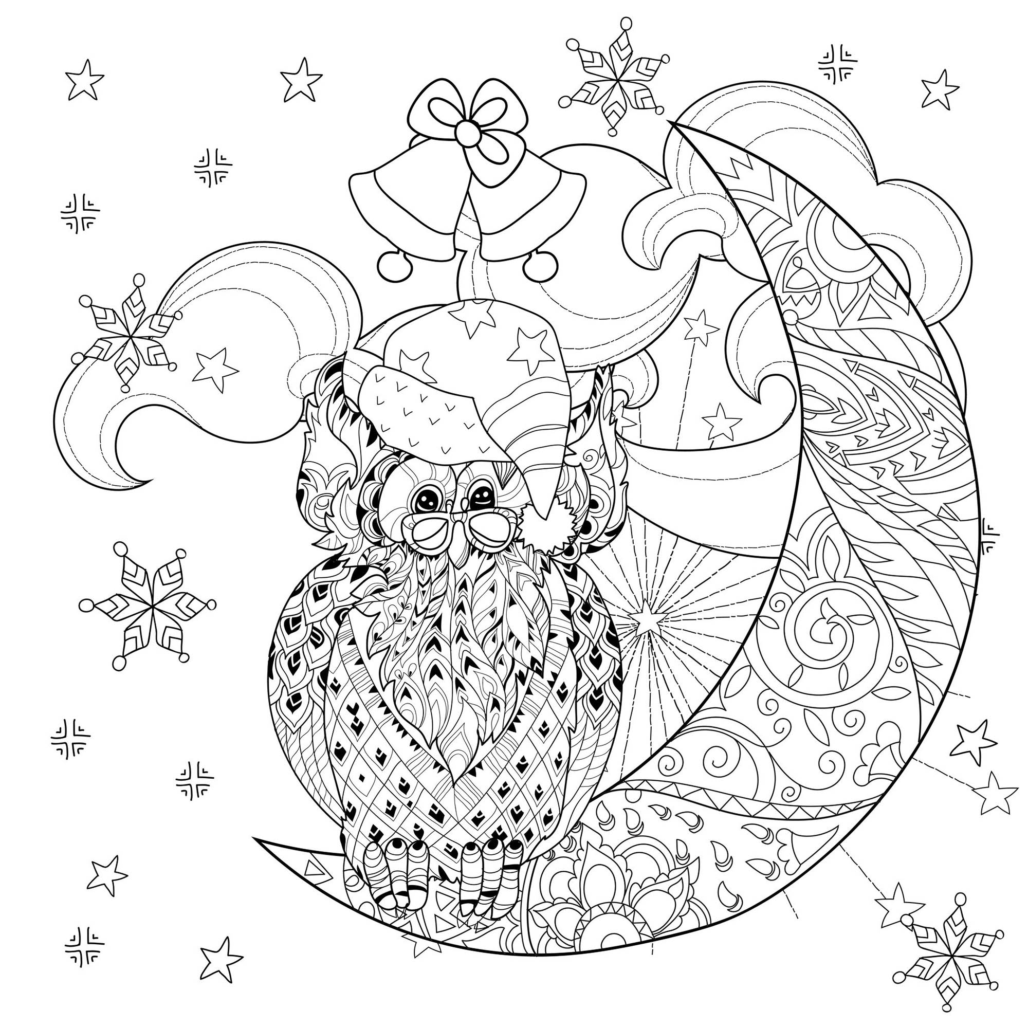 Christmas Owl On Moon Christmas Adult Coloring Pages