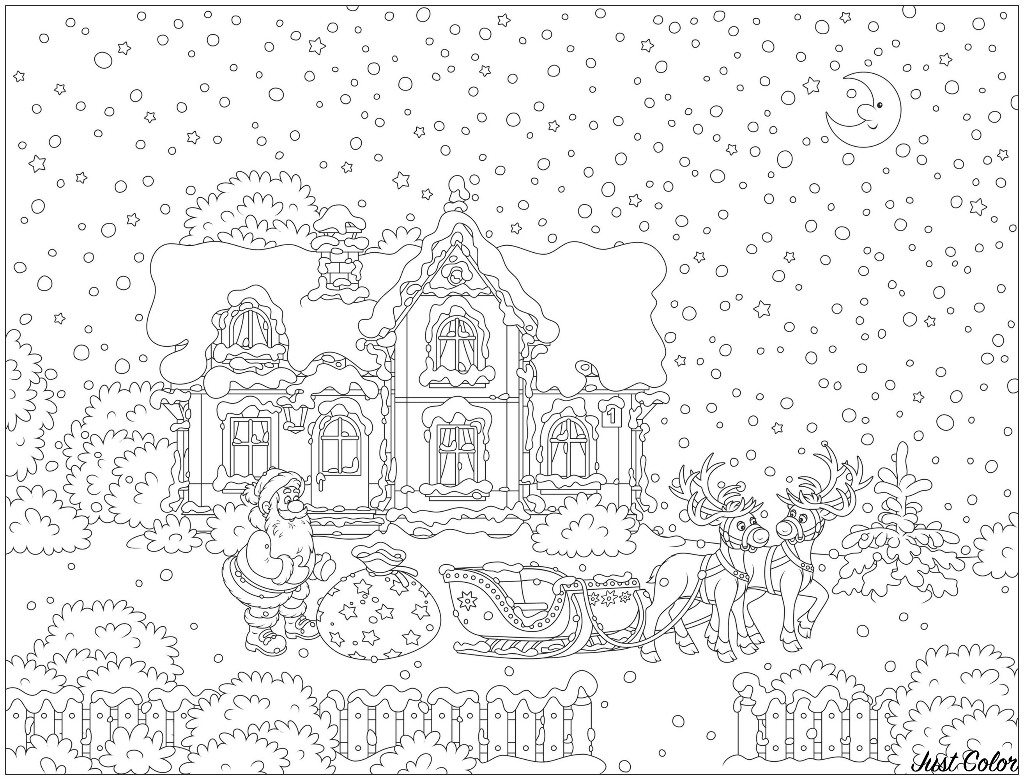 Santa Claus And His Reindeer Sled