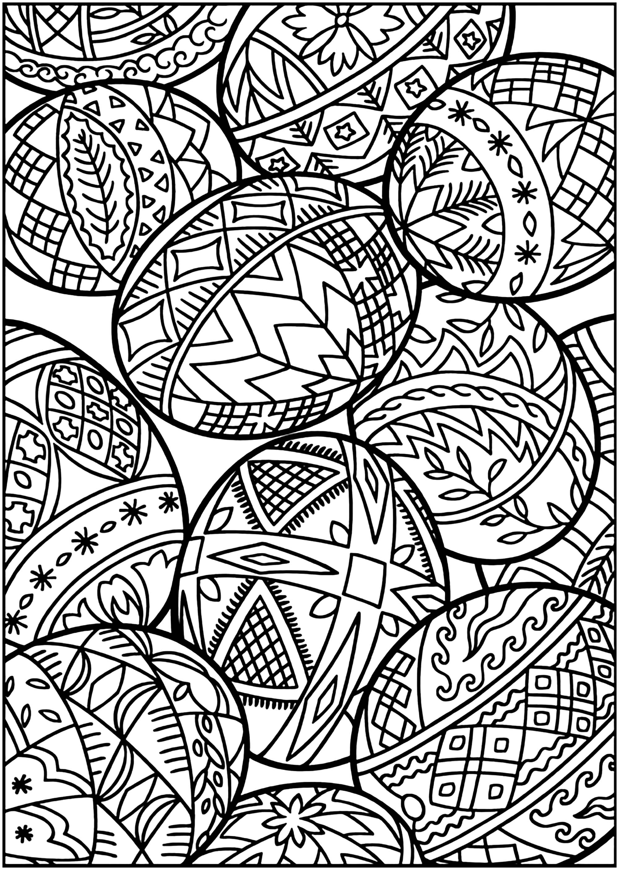 Easter Eggs With Various Patterns Easter Adult Coloring