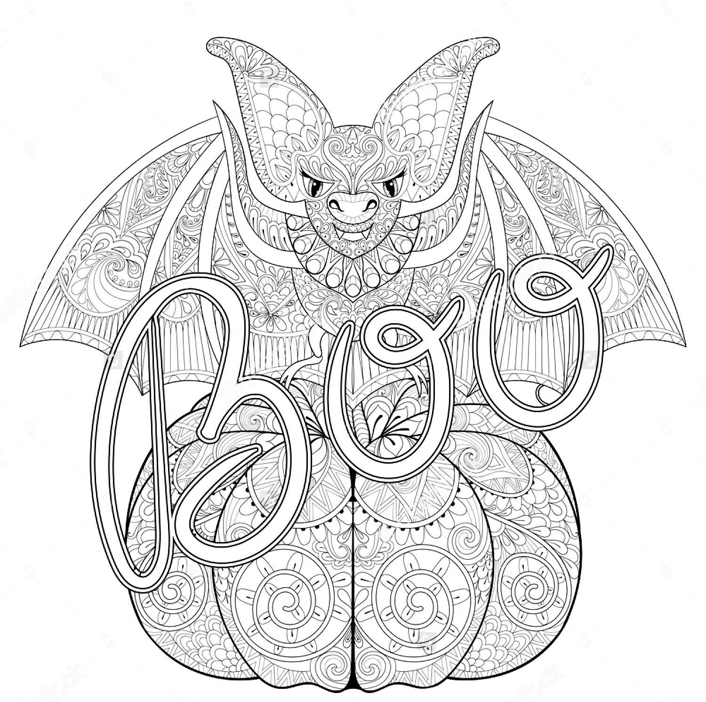 Halloween Zentangle Bat