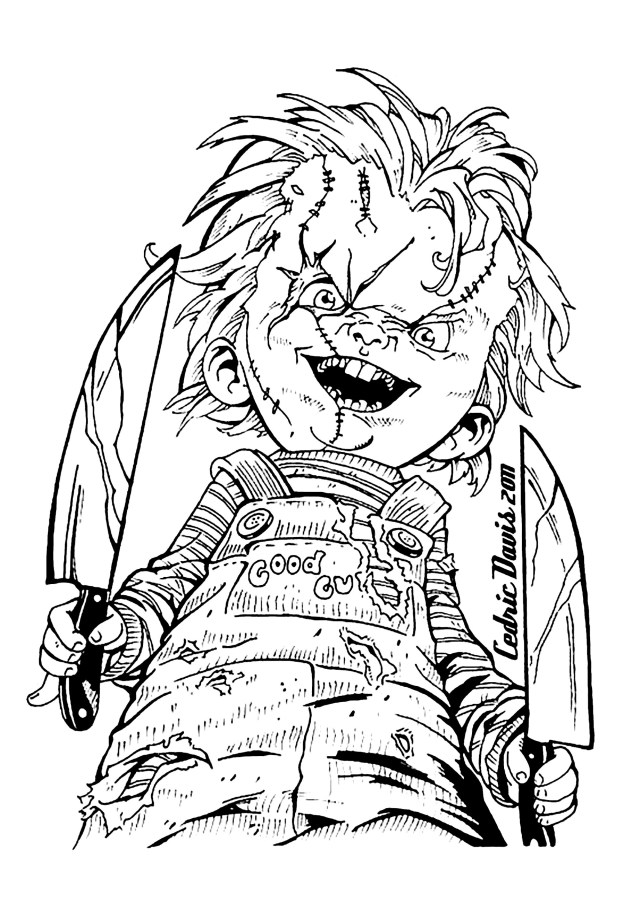 """Hi, Im Chucky. Wanna play?"""" - Halloween Adult Coloring Pages"""