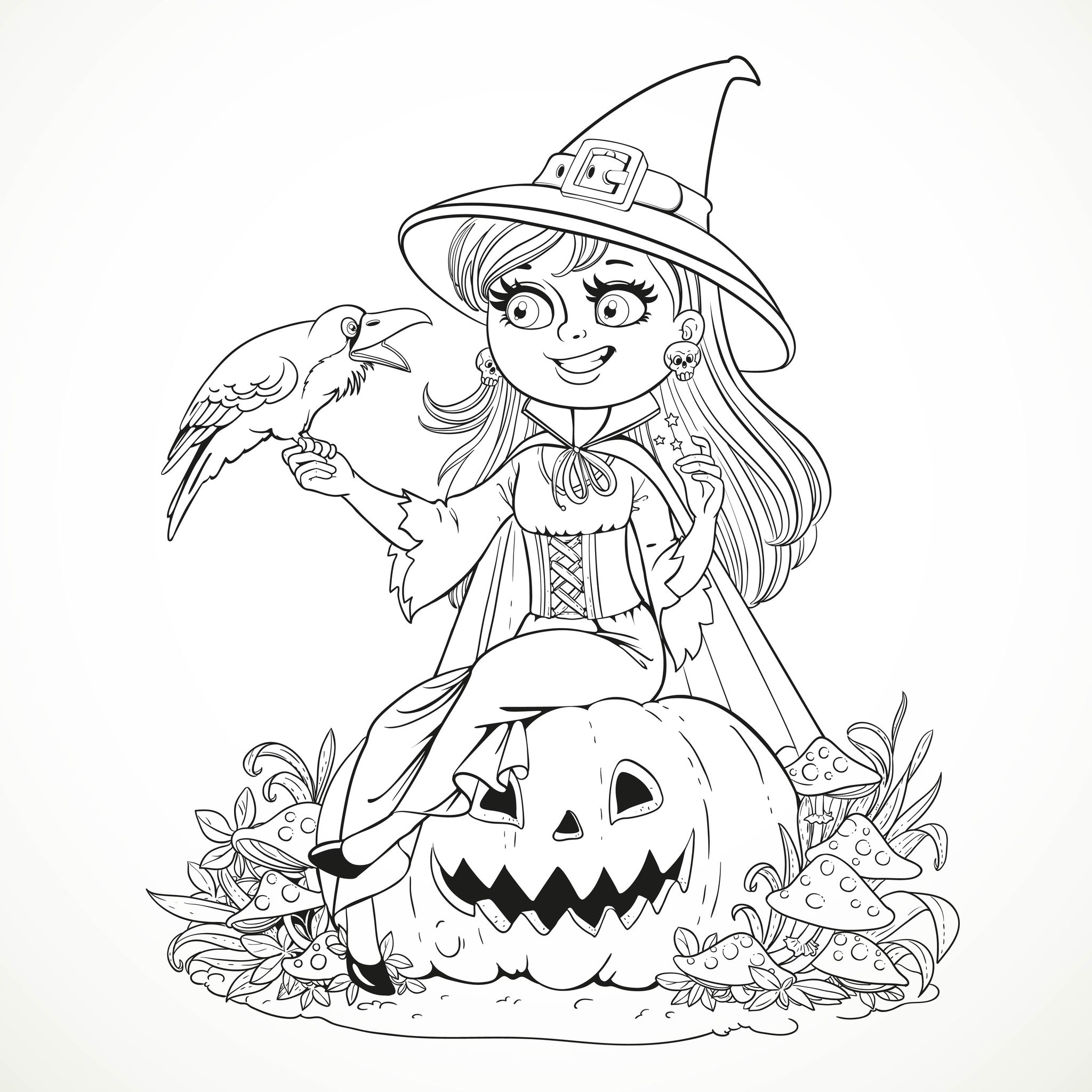 Halloween Smiling Witch And Crow Halloween Adult Coloring Pages