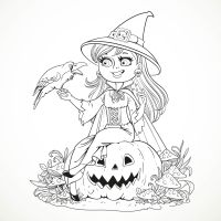 free printable halloween witch coloring pages