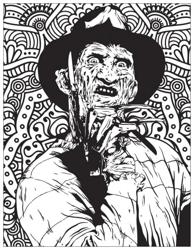 Horror freddy krueger - Halloween Adult Coloring Pages
