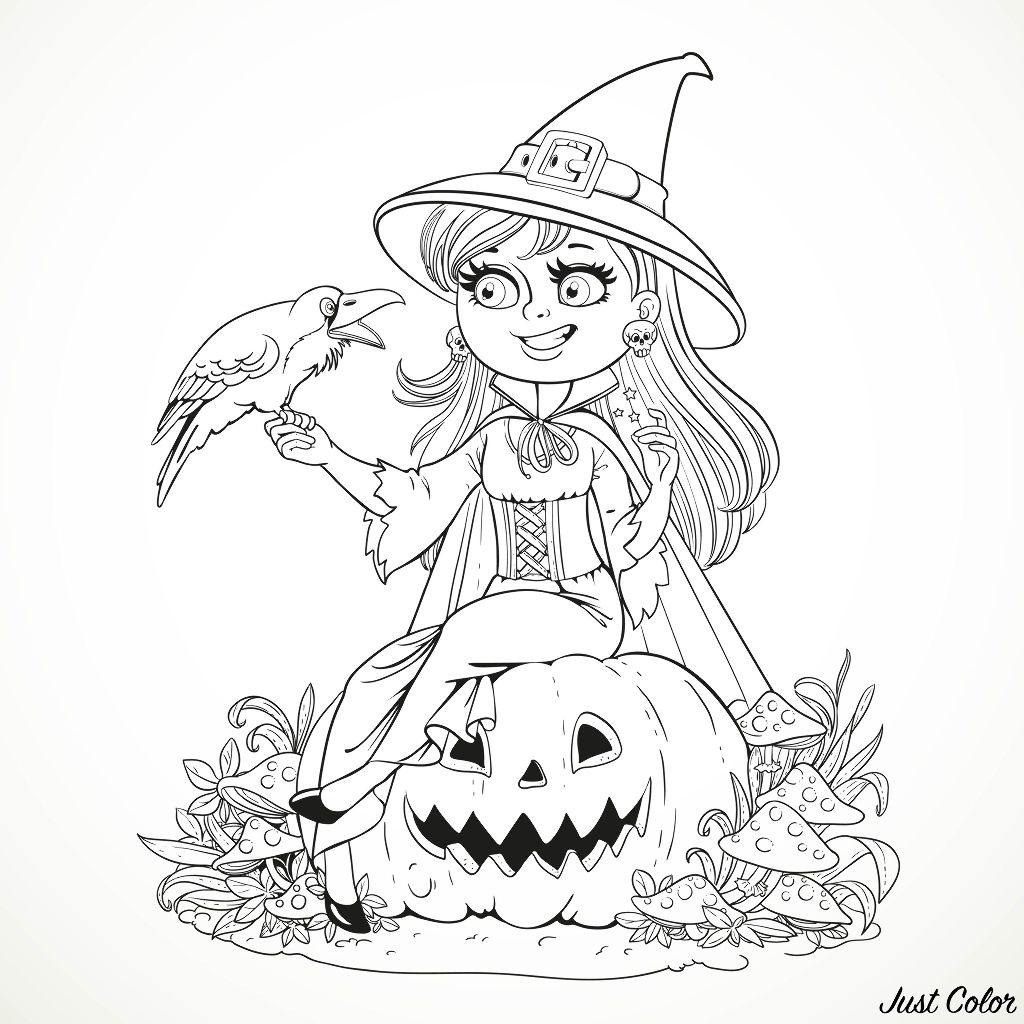 Halloween Smiling Witch And Crow