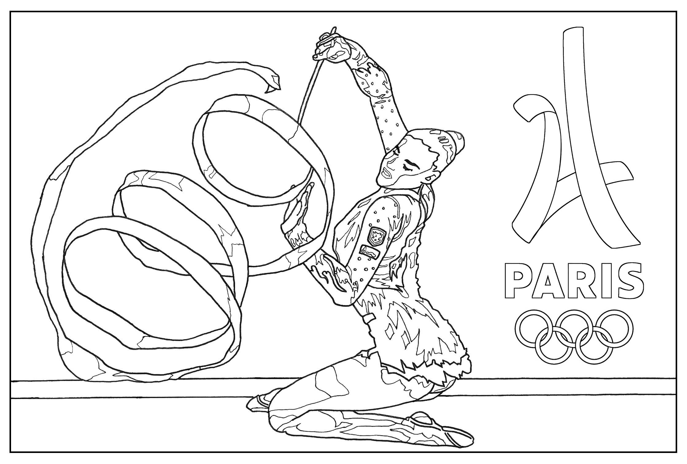 Olympic Games Gymnastic Paris 2024 Olympic And Sport Coloring