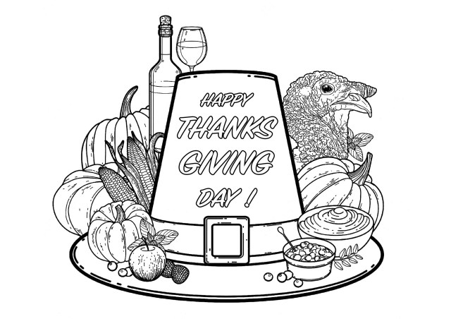 Happy Thanksgiving Day ! - Thanksgiving Adult Coloring Pages