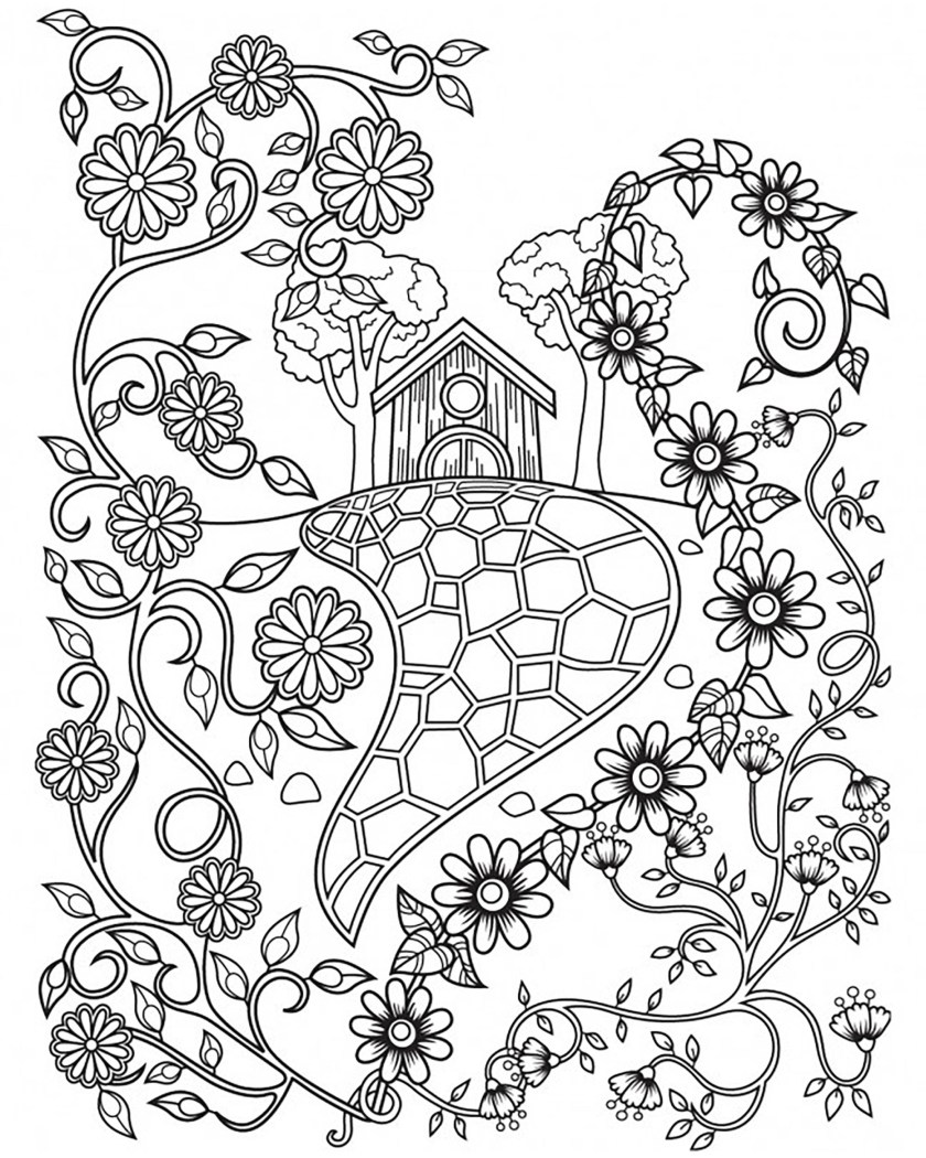 fairy tale house and flowers  fairy tales adult coloring