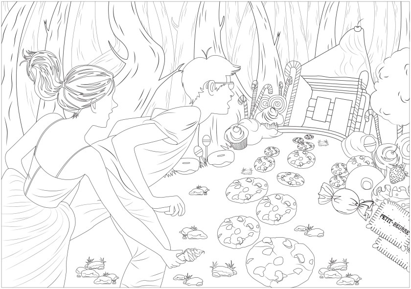 hansel & gretel  fairy tales adult coloring pages
