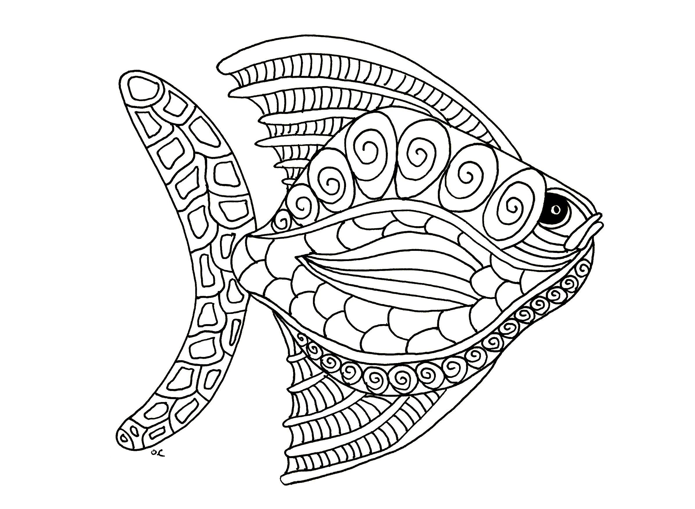 Fish Zentangle Step 1