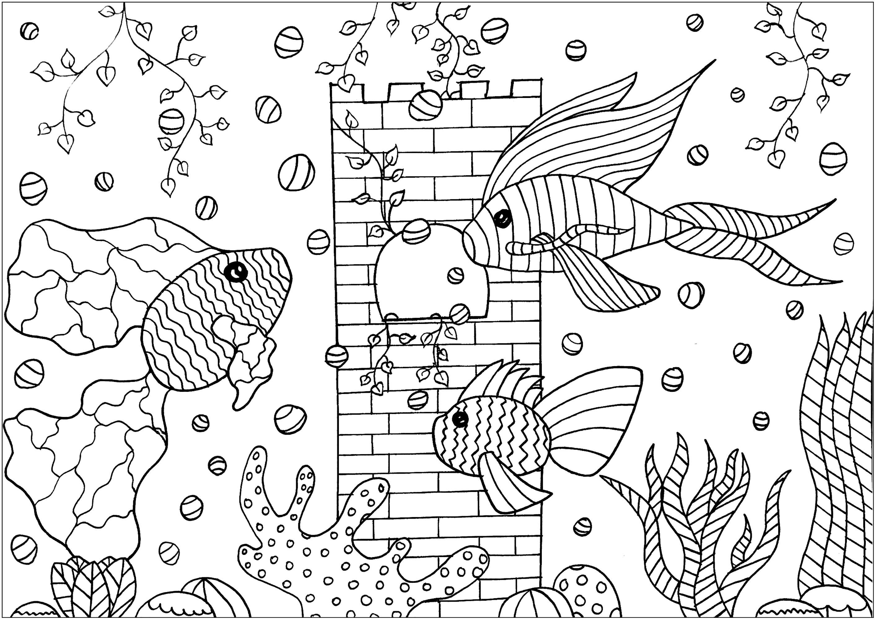 Tree Fishes In A Aquarium