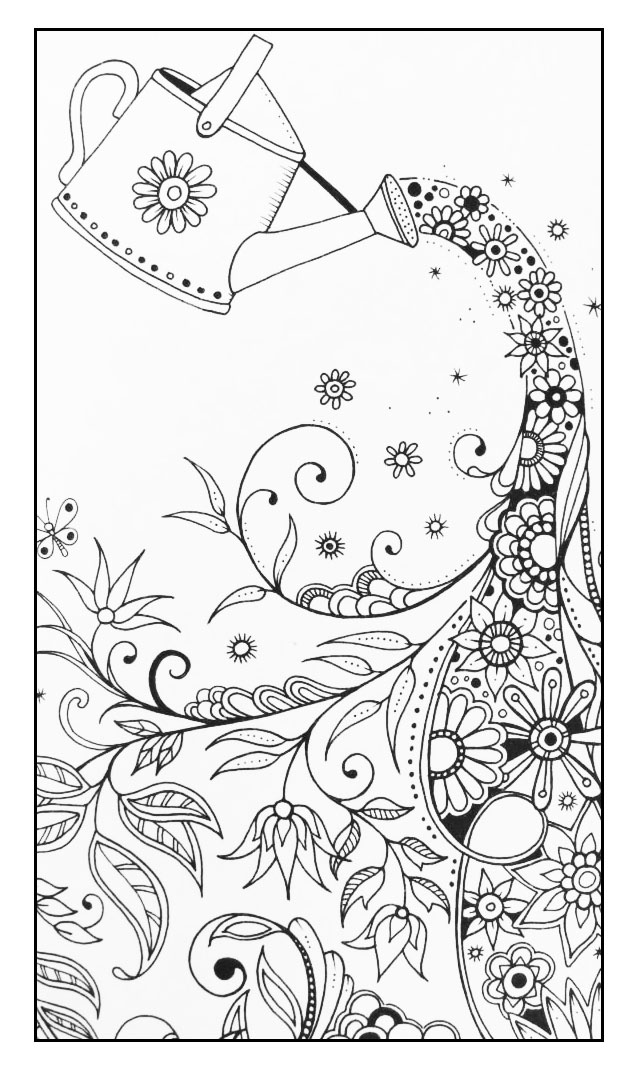 Magical Watering Can Flowers Adult Coloring Pages
