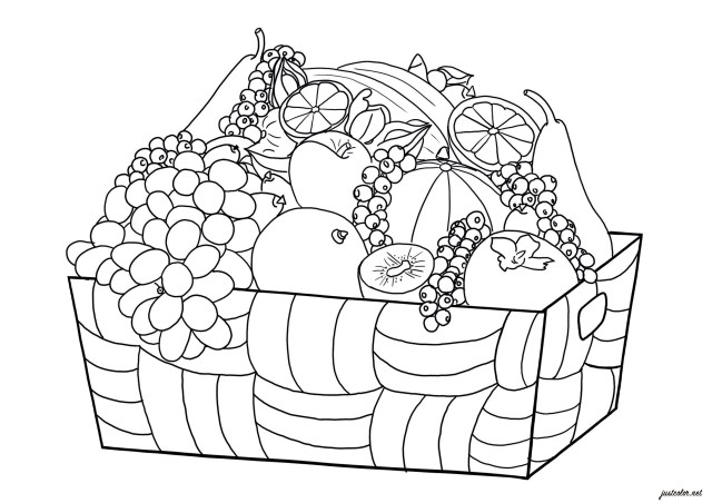 Basket of fruits - Flowers Adult Coloring Pages