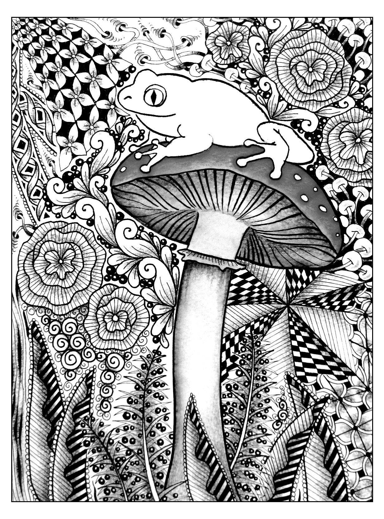 Frog on a mushroom - Flowers Adult Coloring Pages   coloring pages for adults cool