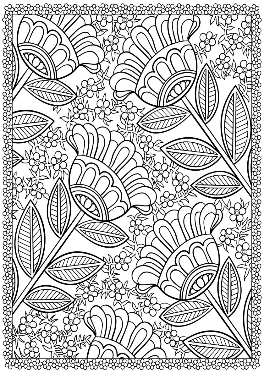 four big flowers  flowers adult coloring pages