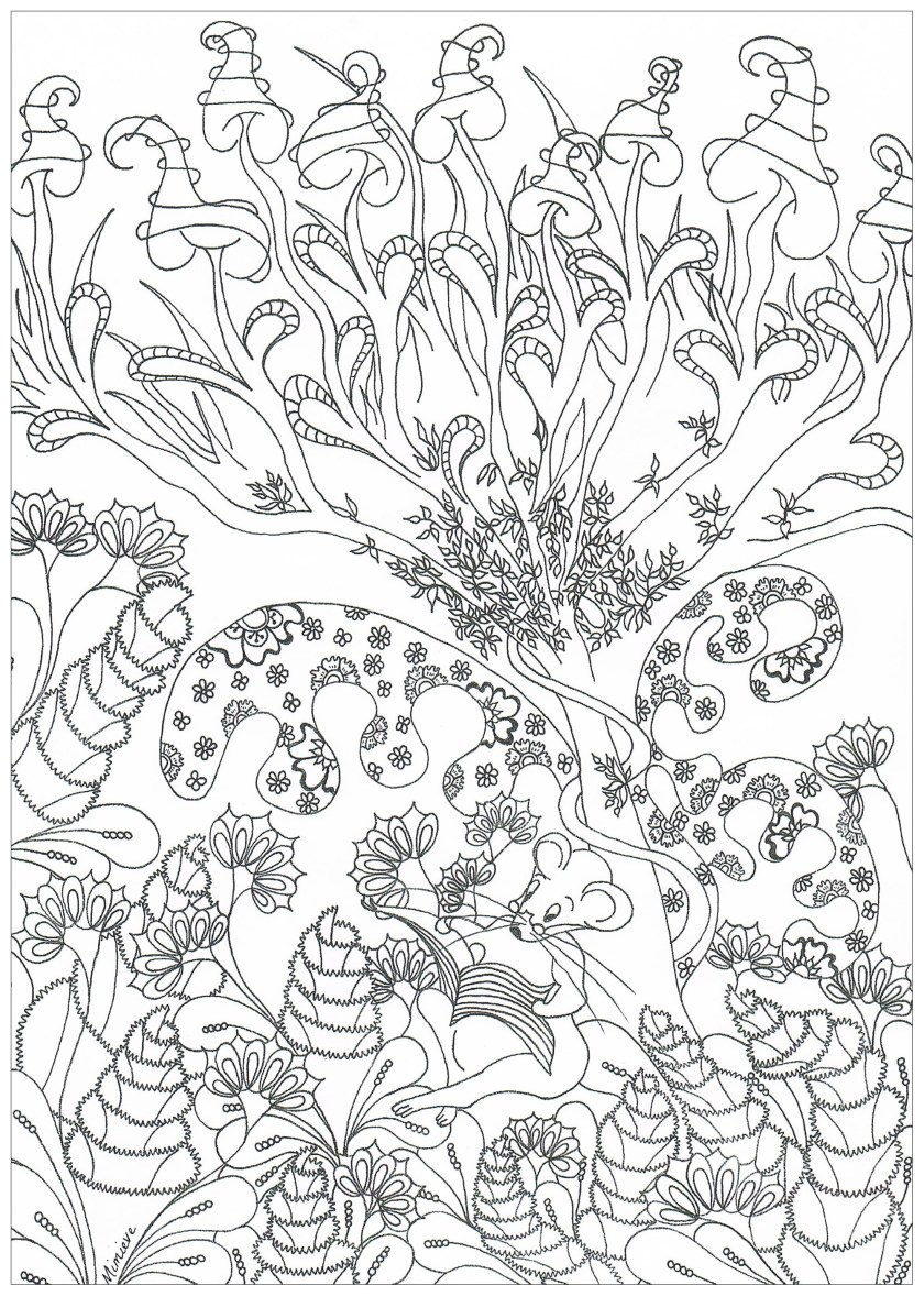 enchanted forest  jungle & forest adult coloring pages