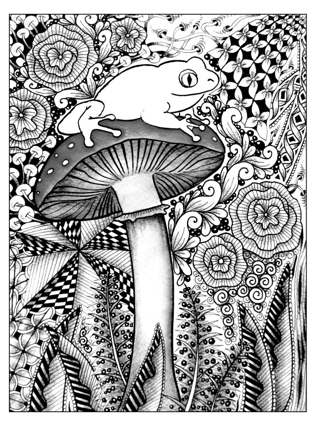 The frog on a big mushroom - Jungle & Forest Adult Coloring Pages