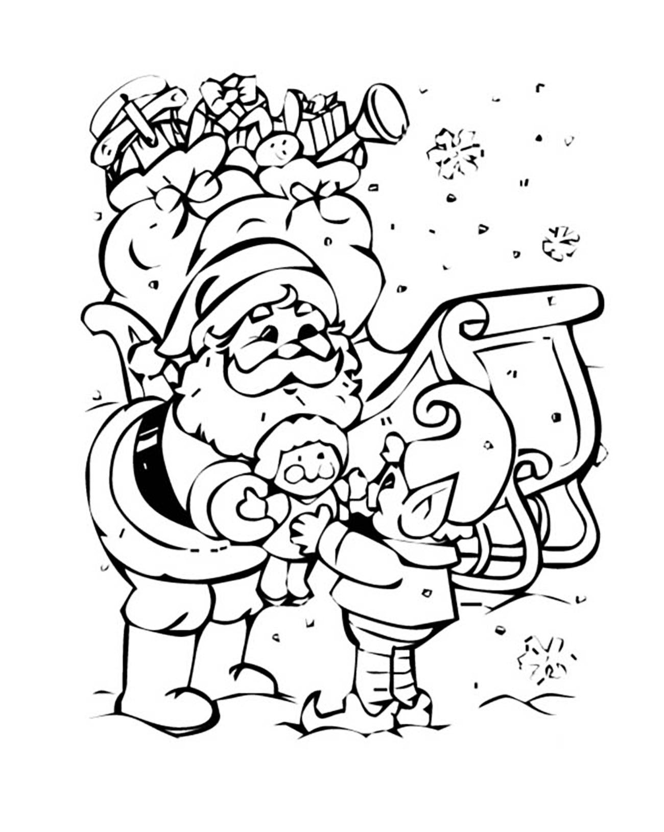 Santa Claus Christmas And An Elf